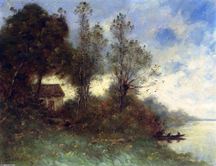 Traversée en bateau, huile sur toile de Paul Désiré Trouillebert (1829-1900, France)