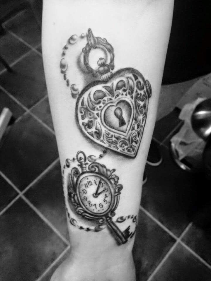 My new addition #lock&key tattoo has my daughters birth time in the clock. Represents my daughter that I shall protect her and she has the key to my heart x