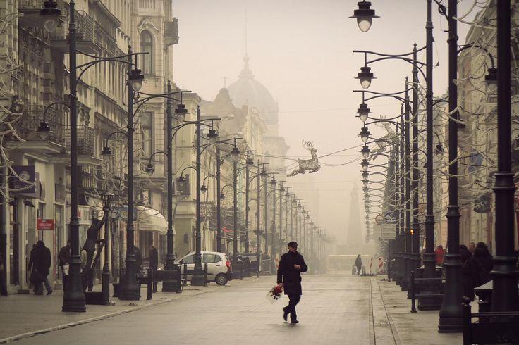 fog in the city - Łódź, Poland