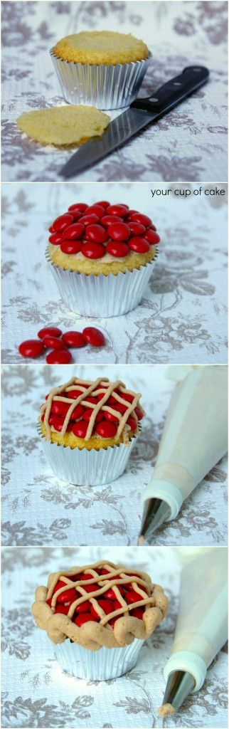 """Cherry Pie Cupcakes Recipe ~ with Red M """"cherries"""" on top the kiddos would love these esp Nate mnms are his fav just like momma :)"""