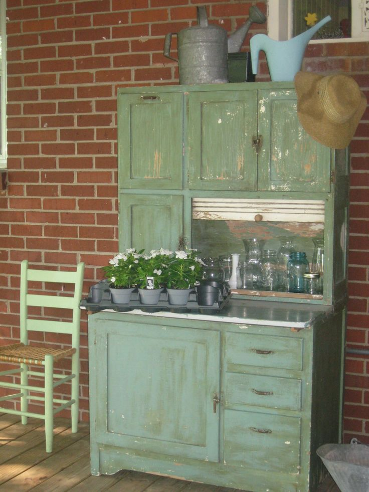 Green Hoosier Cabinet On Back Porch To Be Repurposed Into
