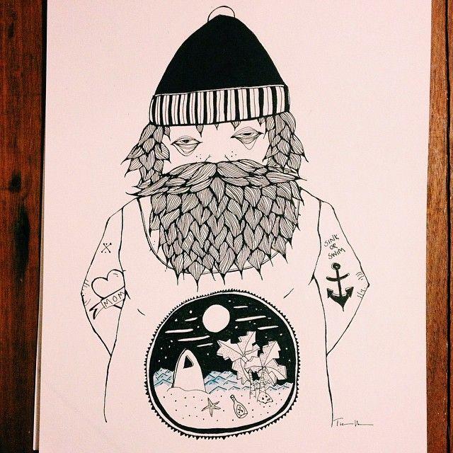 ALOHA Sailor. #sailor #hipster #sea #ocean #surf #island #skull #beard #tattoo #ink #fineliner #bold #blackandwhite #drawing #tinamose #myart #painting #sketch #vsco #vscocam #sinkorswim