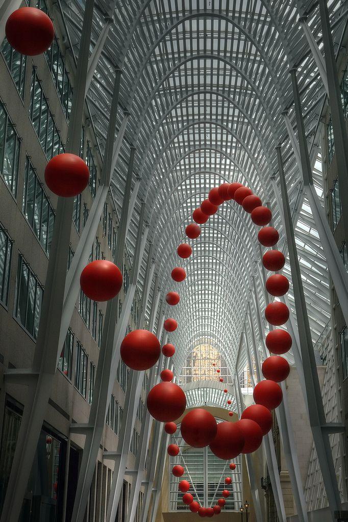 Long Wave; photograph by Timothy Neesam. Infinitely bouncing ball at Luminato, art installation by David Rokeby; at Allen Lambert Galleria, Brookfield Place, Toronto, Ontario, Canada