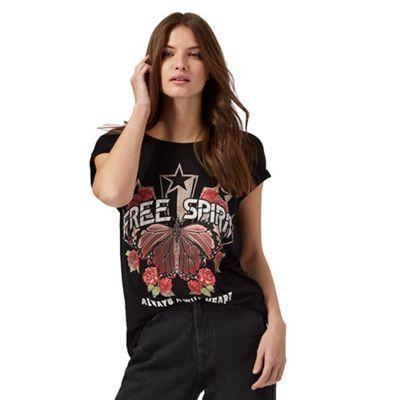 Red Herring Black 'Free spirit' slogan print t-shirt | Debenhams