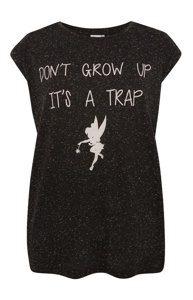 Primark - Zwart T-shirt met Tinkerbell-print