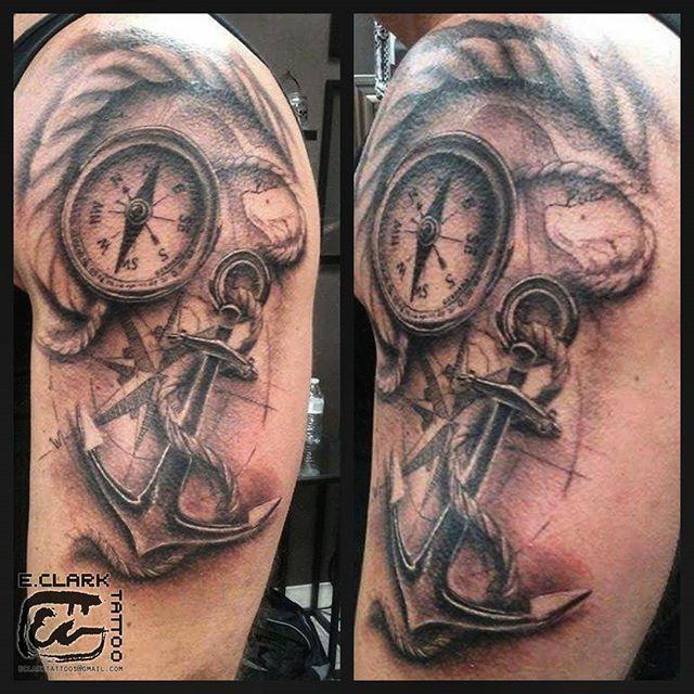 Nautical themed tattoo with a portion of map of the lake he lives on. Fun stuff. ^_____^  #eclarktattoos #blackandgrey #blackandgreytattoo #inkedmag #skinartmag #michigantattooers #anchor #anchortattoo #compasstattoo #nauticaltattoo #dynamicblack #stylusmachine