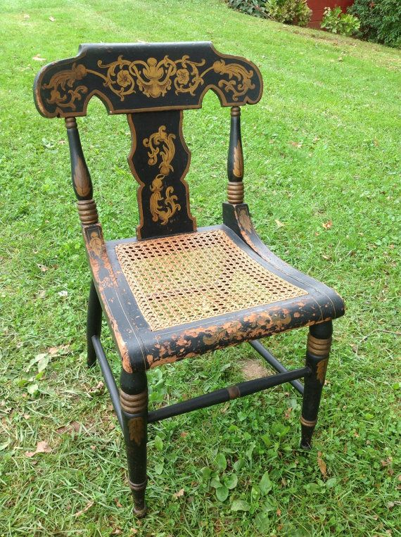 Vintage Wooden Hand Painted Chair Cane Seat By WildBoarDesigns