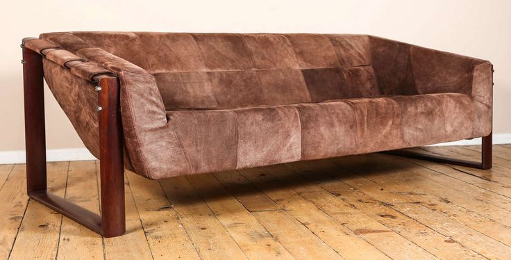 Rosewood and Suede Sofa by Percival Lafer | From a unique collection of antique and modern sofas at https://www.1stdibs.com/furniture/seating/sofas/