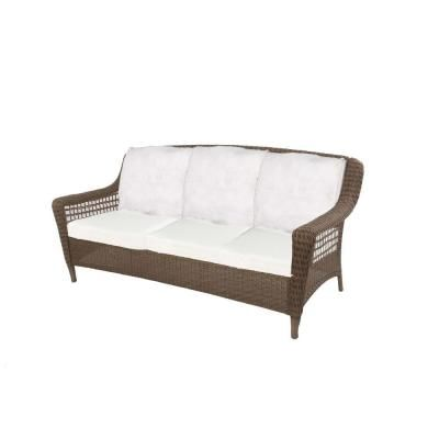 Hampton Bay Spring Haven Grey All Weather Wicker Patio Sofa With Bare  Cushion 55