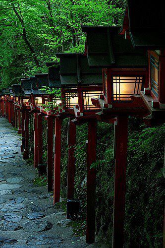 Lanterns line the approach to Kibune shrine, Kyoto, Japan