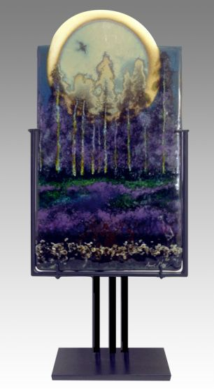 """10 X 27"""" Kiln Formed Glass Table Art featuring silver foil and reactive glasses"""