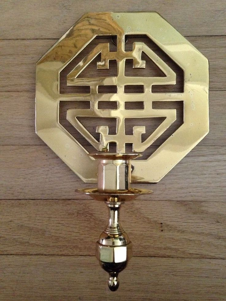 Brass Vintage Asian Inspired Candle Wall Sconces Palm Beach Regency   eBay