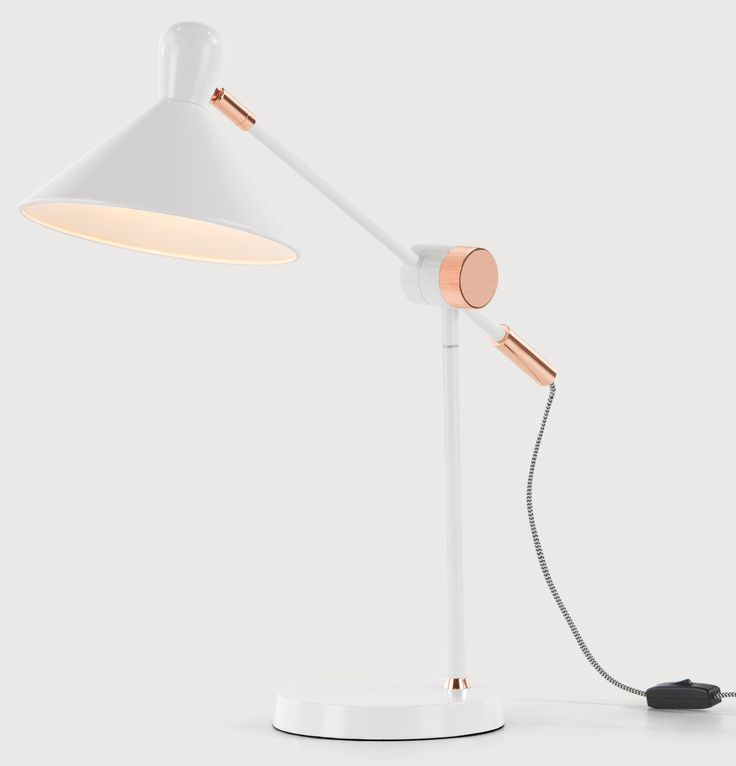 Ogilvy Task Table Lamp Matt Soft Grey And Copper Gray