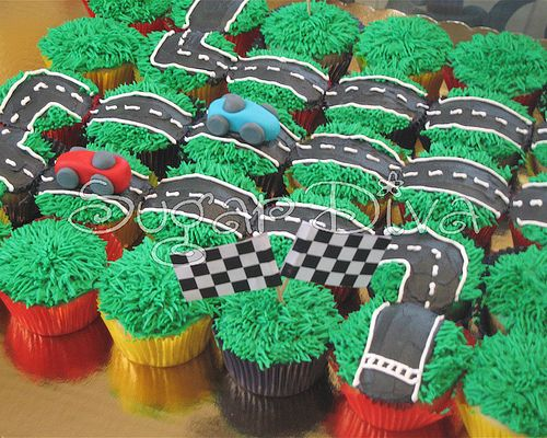 Race Track Cupcakes I wonder if you could do this with a train ??