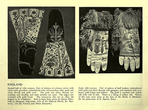 mitones y guantes bordados siglos XVI y XVII