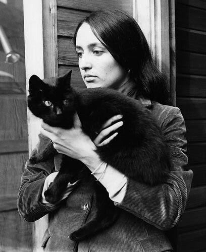Singer Joan Baez with black cat #musician #pet