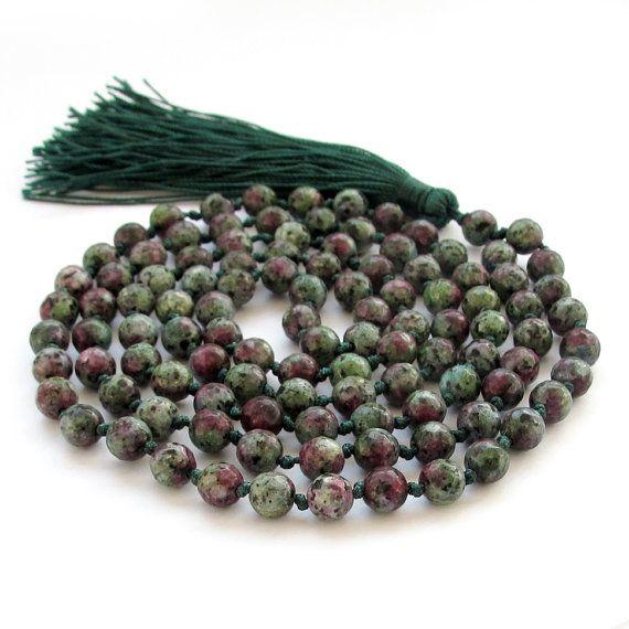 Knotted Faceted Gemstone Meditation Yoga 108 Rosary Beaded Buddhist Prayer Beads Japa Mala  ZZ283