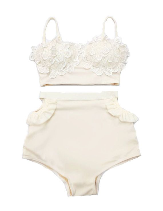 Cream Lace Daisy Top and High Waisted Shorts Bathing Suit