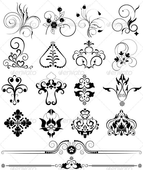 "Collection of Ornaments and Brushes for Design #GraphicRiver Collection of calligraphic ornament, brushes and decor for pages Vector Illustration.EPS-10; Main files and ""fully editable"": Ai; EPS; PDF formats (with minimum Adobe version CS). Additional format: TIFF; PNG; JPEG. Smart Object of the key.80-80, 590-700 You can use each part separately, create any framework. For official documents,banners,cards, headers Vector format means that you can re size Created: 26February13"