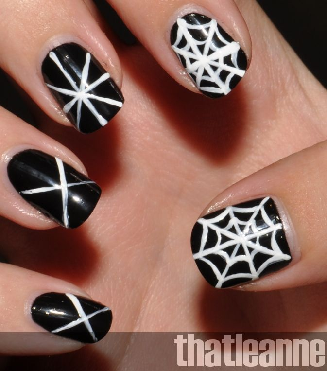 image detail for thatleanne simple halloween nail art ideas needs just a spider hanging from a single thread on the first one - Easy Halloween Designs For Nails