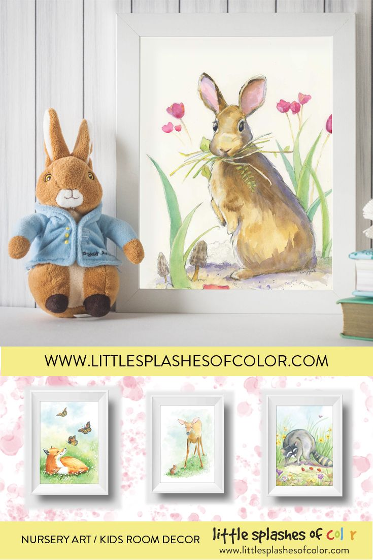 Reminiscent Of Peter Rabbit A Sweet Bunny Among Tulips Wall Art