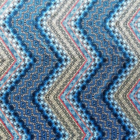 The Fabric Fairy Shades of Blue Vertical Zig Zag Nylon Spandex Swimsuit Fabric