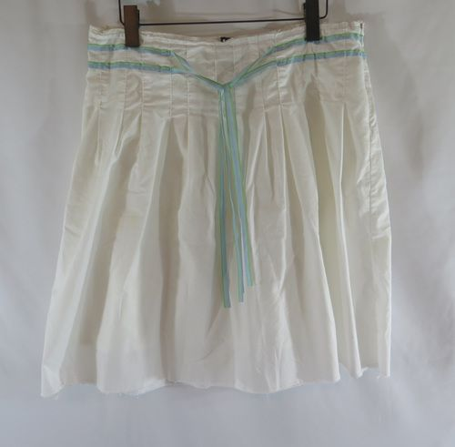 Old Navy White Pleated A Line Cotton Skirt 10