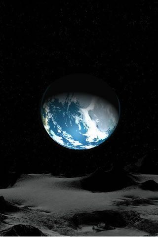 Earth's night from the moon.