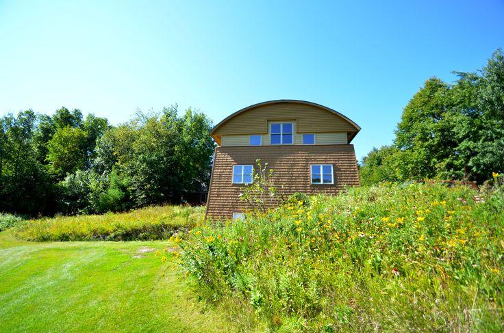 Modern sustainable prairie farm building.