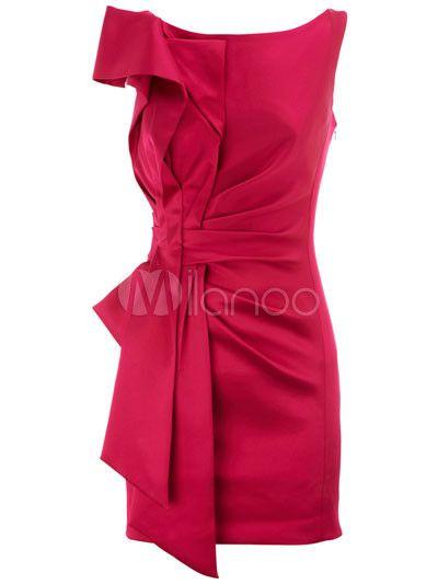 [49,33€] Robe subtile vintage élégante rouge unicolore plissée au dos décolleté et col bateau