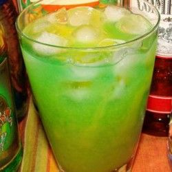 Sex on the Grass: 1 oz vodka, 1 oz peach schnapps, 1/2 oz southern comfort, 1/2 oz blue curacao, 1 oz liqueur (Midori melon) orange juice
