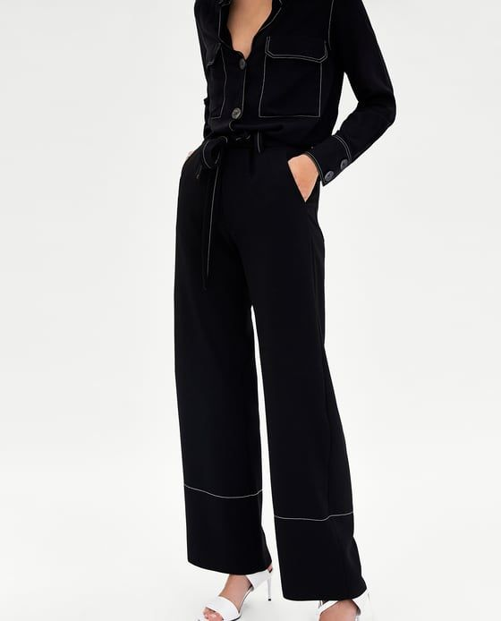212c4a5f Image 2 of TROUSERS WITH CONTRASTING TOPSTITCHING from Zara | Zara ...