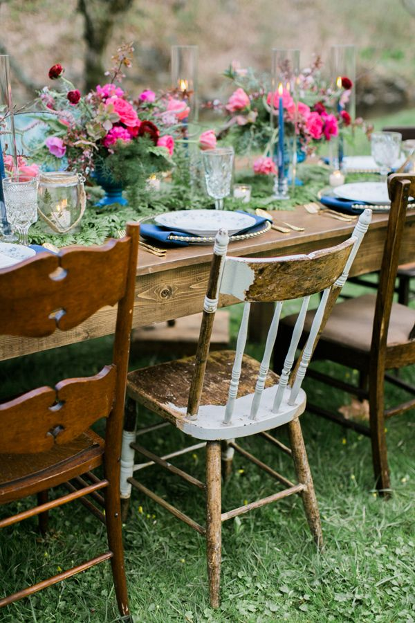 mismatched reception chairs - photo by Emily Wren http://ruffledblog.com/woodland-romance-wedding-inspiration
