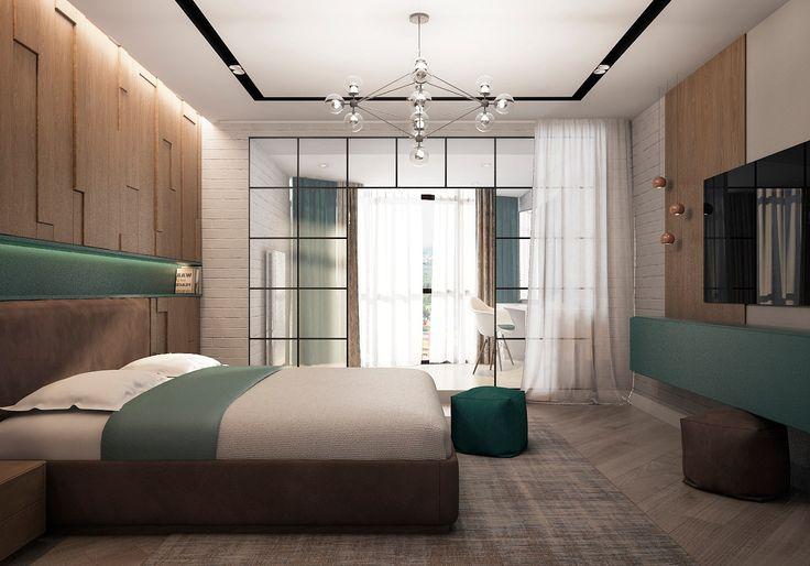 Деревянное изголовье, ТВ зона в спальне, спальня с элементами LOFT, спальня в современном стиле, кирпич в интерьере, перегородки в интерьере, дизайн-проект спальни, интерьер спальни, дизайн-проект удаленно, декор стены в изголовье кровати