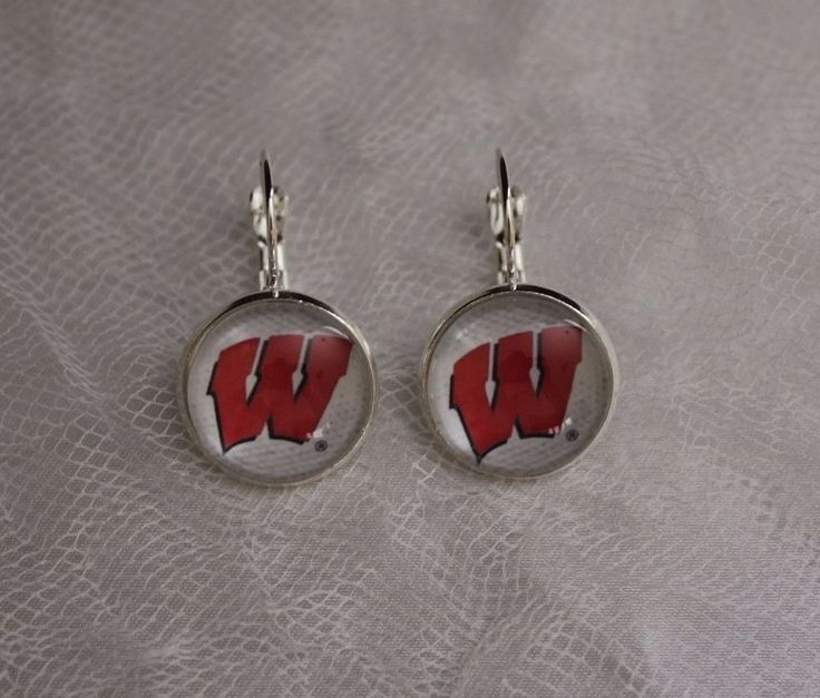 Wisconsin Badgers Earrings Made From Football Trading Cards Upcycled #Handmade…