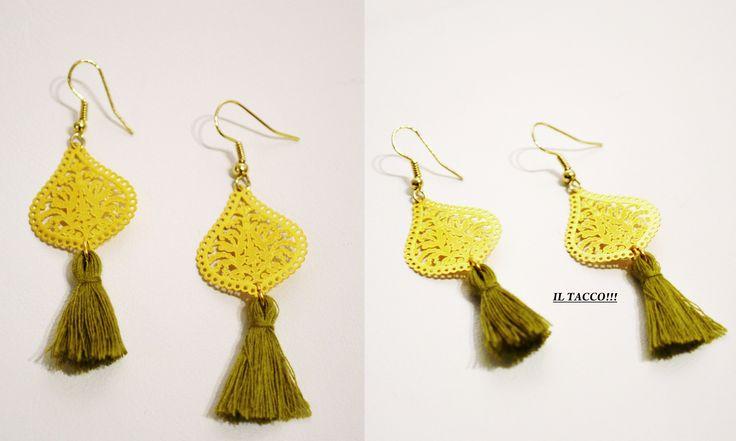 Earrings, lace effect, tassels, green, Il Tacco!!!