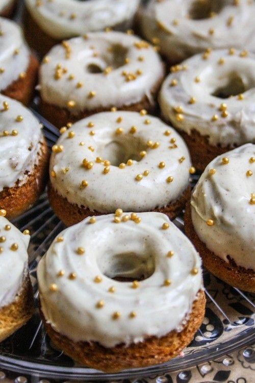 mini gingerbread donuts with white chocolate cinnamon glaze