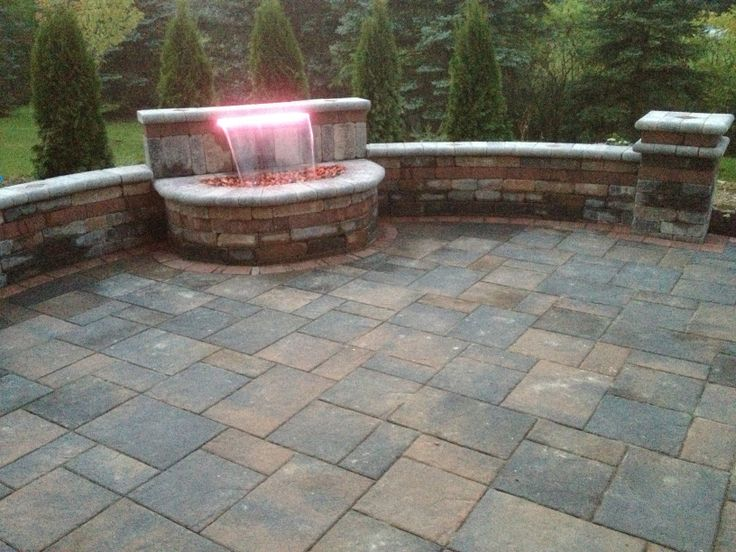Unilock Brick Paver Brussels Tumbled Wall And 16 Color Led Light And Formal  Falls Waterfall.