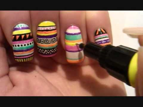 Nail art tutorial: Tribal nails (goSupermodel)