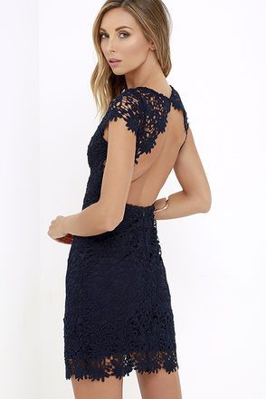 We admire any girl who can put together a great outfit, but honestly, the Hidden Talent Backless Navy Blue Lace Dress makes it easy! This beautiful bodycon dress has sheer cap sleeves and a backless design (with top button). Hidden back zipper/hook clasp.