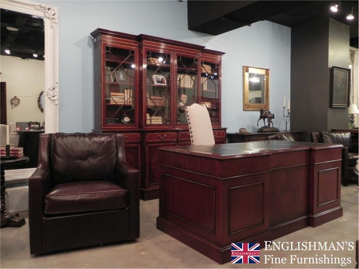 Traditional style leather top mahogany pedestal desk offered from Englishman's. As well as pedestal desks Englishman's carries writing desks & filing cabinets. Add a breakfront bookcase for storage & display solutions.