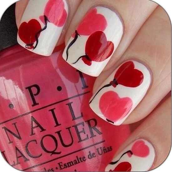 Heart balloon nails from Instagram
