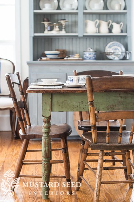 Marvelous Small Farm Table Painted In MMSMP Lucketts Green Without The Bonding Agent  (so It Would Chip And Flake Away), Lightly Distressed And Finished With  Antiquing ...
