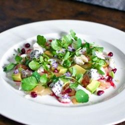Pink pomelo salad with crab, avocado, dragon fruit   finger lime
