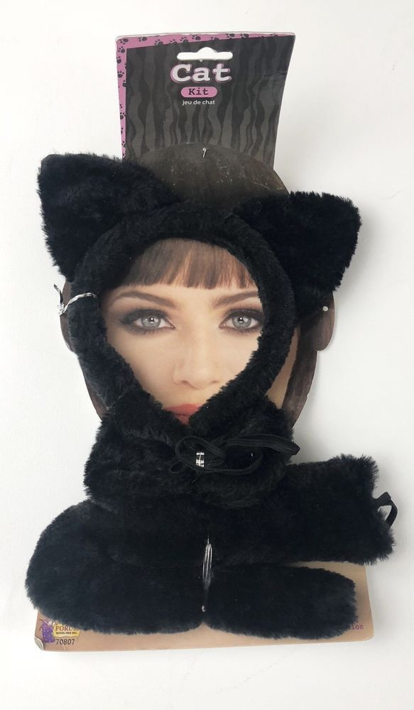 Cat Cosplay Set Cat Headband Ears Bow Tie Costume for Halloween Party Decor