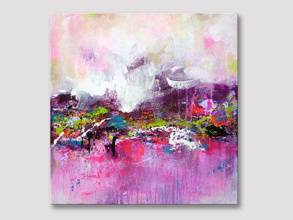 Ursprüngliche abstrakte Malerei, moderne Kunst, Acrylbild, Gemälde, Wandkunst, Rosa Magenta stieg Malerei, abstrakte Kunst, Leinwand Gemälde