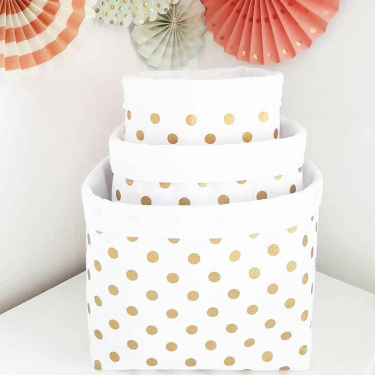 Gold polka dot on white fabric storage basket. Container, basket bin. Nappy basket, toy storage, nursery decor, kids room. FREE UK DELIVERY by MeaBeeDesign on Etsy