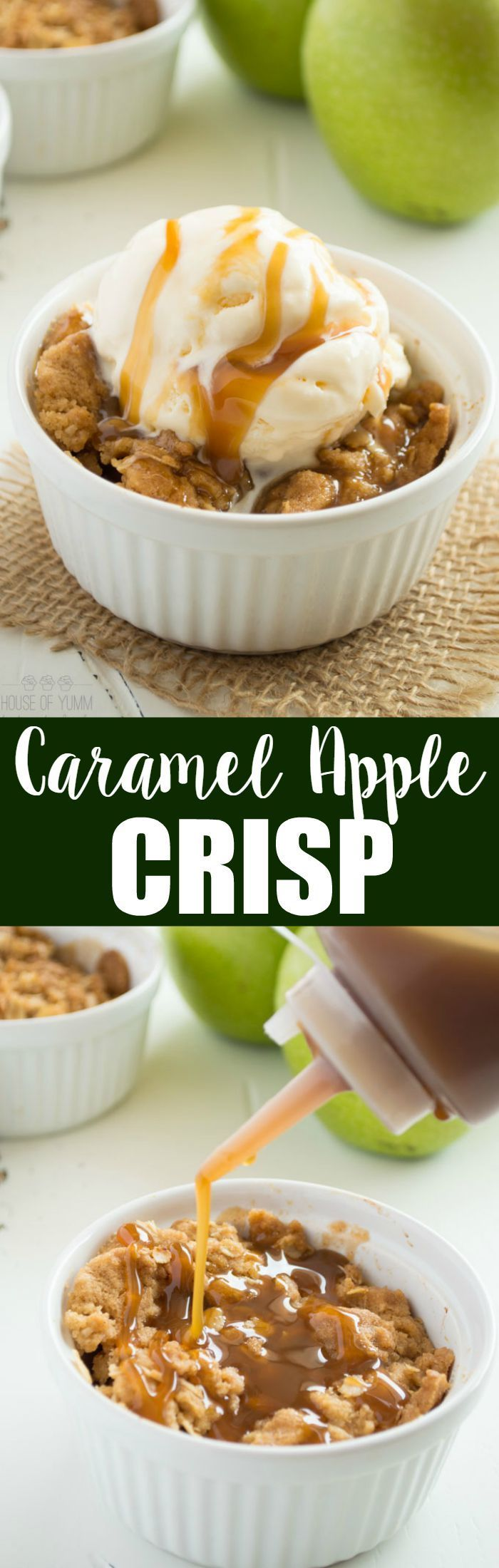 This easy to make caramel apple crisp is the perfect combination of tart apples with an irresistible brown sugar crisp topping. #KitchenAidContest #ad
