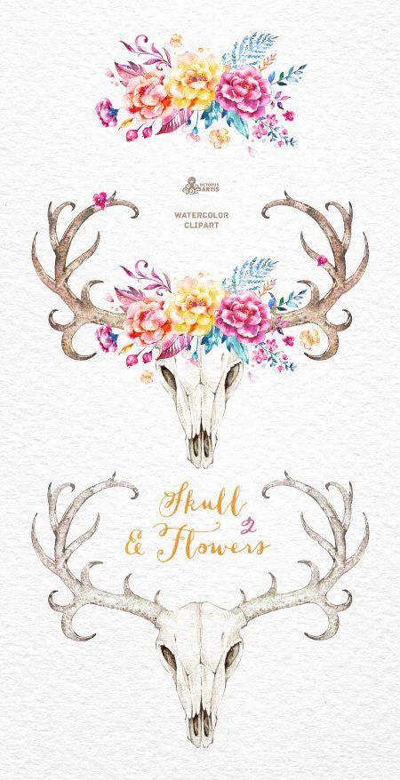 Skull & Flowers 2. Watercolor skulls with antlers by OctopusArtis