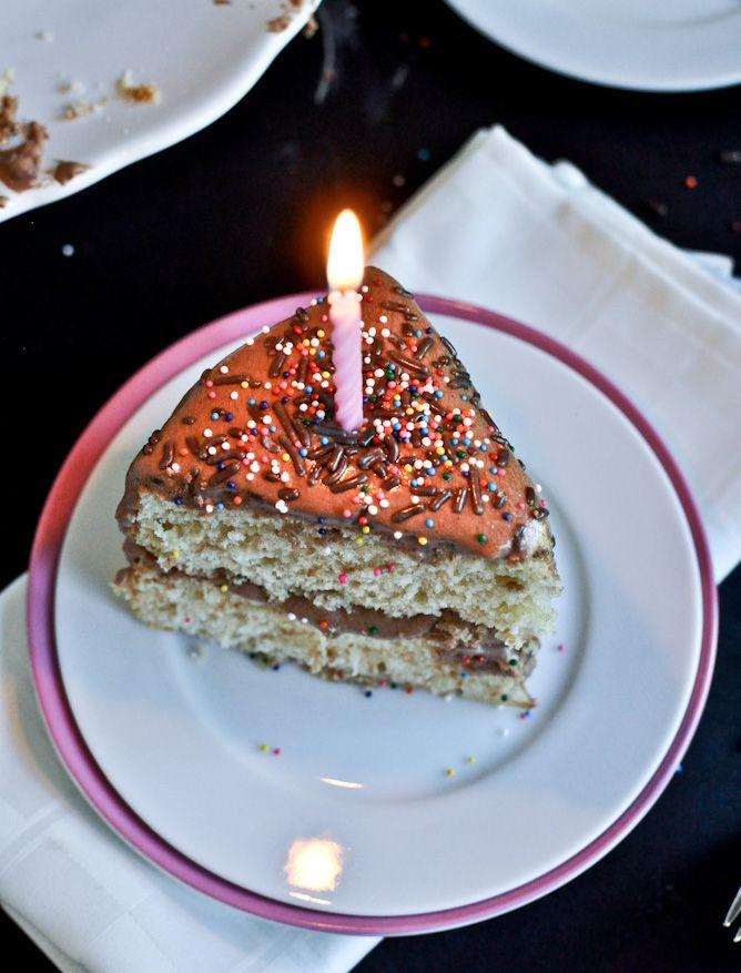 yellow birthday cake with fudge frosting